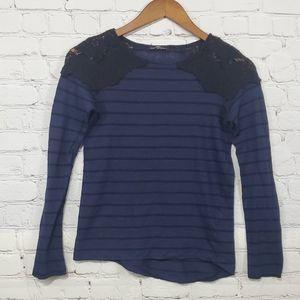 Zara Blue Stripe & Black Lace Long Sleeve Blouse